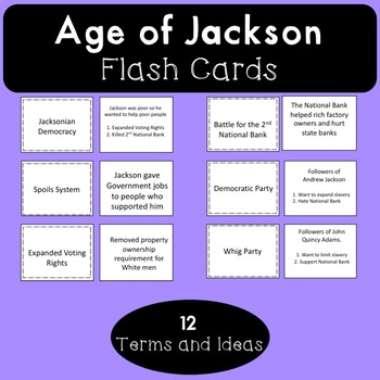 Age of Jackson Flash Cards by Hunka Learnin' Love | TpT