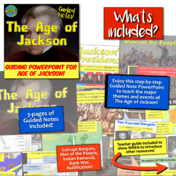 Age of Jackson Guided Unit PowerPoint: Andrew Jackson Guiding PPT!