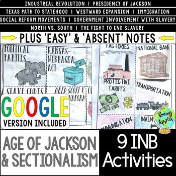 Age of Jackson & Sectionalism Interactive Notebook Activities, 19th Century