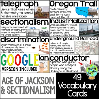 Age of Jackson & Sectionalism Vocabulary Cards, Early 19th Century Word Wall