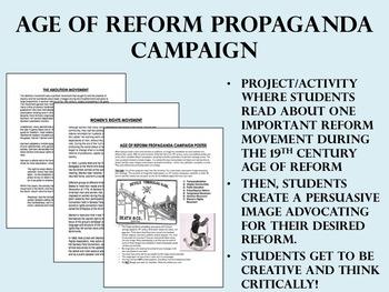 Age of Reform Propaganda Campaign Project/Activity - USH/APUSH