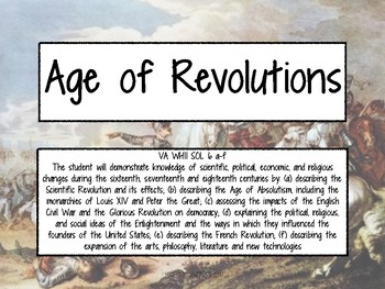 Age of Revolutions Task Cards - World History II