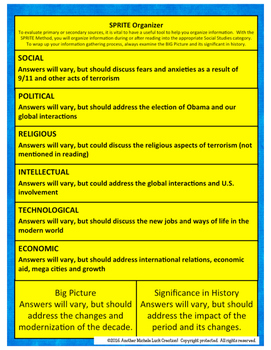 Age of Terrorism in America SPRITE Reading & Social Studies Graphic Organizer