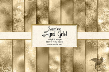 Aged Gold Digital Paper, seamless distressed grunge gold metal textures