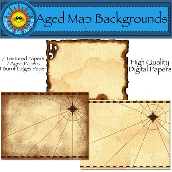 Aged Map Backgrounds, Digital Papers