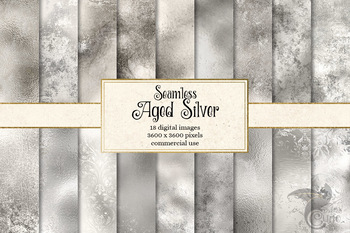 Aged Silver Textures digital paper, seamless distressed vintage metallic texture