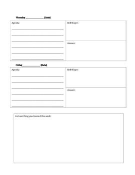 Agenda / Bell Ringer Sheet