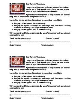 Agenda Book Parent Letter