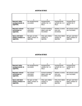 Agenda/Daily Planner Rubric