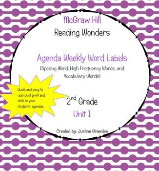 Agenda Labels for Reading Wonders Grade 2 Unit 1