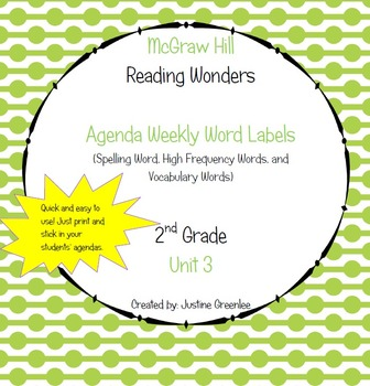 Agenda Labels for Reading Wonders Grade 2 Unit 3