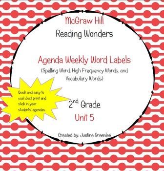 Agenda Labels for Reading Wonders Grade 2 Unit 5