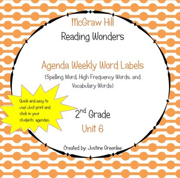 Agenda Labels for Reading Wonders Grade 2 Unit 6