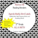 Agenda Labels for Reading Wonders Grade 2 Units 1-6 BUNDLE