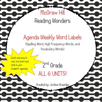 Agenda Labels for Reading Wonders Grade 2 Units 1-6 BUNDLE