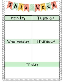 Agenda monday through friday great for writing homework for Monday through saturday calendar template