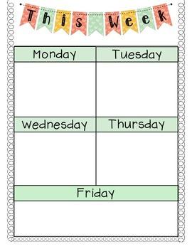 Agenda Monday Through Friday Great For Writing Homework