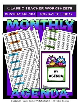 Agenda-Monthly Template Interlined (Mon to Fri)-Kindergart