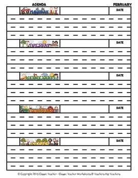 Agenda-Monthly Template Interlined (Mon to Fri)-Kindergarten-Grade 2/2nd Grade