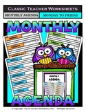 Agenda - Monthly Agenda Template (Monday to Friday) - Kindergarten to Grade 12
