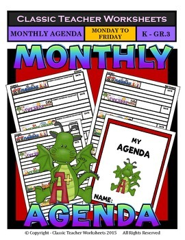 Agenda - Monthly Template (Mon to Fri) - Kindergarten to Grade 3/3rd Grade