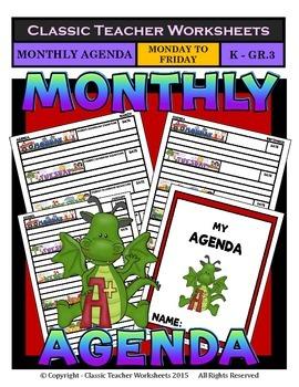 Agenda - Monthly Template (Mon to Fri) - Kindergarten to G