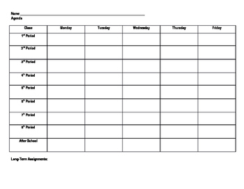 Agenda Sheet for Students