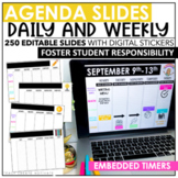 Distance Learning Agenda Slides with Timers | Editable