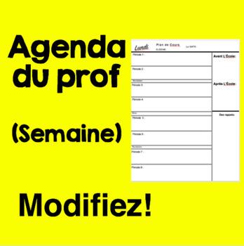 Agenda de l'enseignant(e) - Semaine par semaine