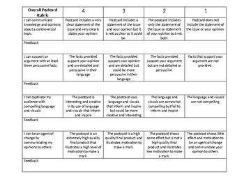 Agent of Change Postcard Checklist and Rubric