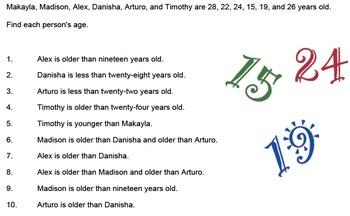 Ages Logic Puzzle, Bellringer, Warmup Puzzle, Grades 5 - 8
