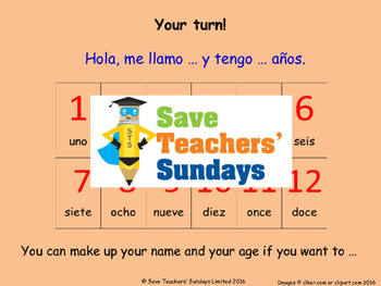 Ages in Spanish Lesson plan, PowerPoint (with audio), Card