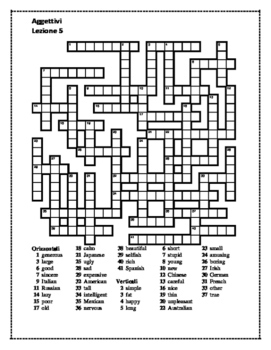 Aggettivi (Italian Adjectives) crossword 3
