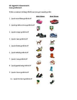 Aggettivi dimostrativi (Demonstrative adjectives in Italian) worksheet