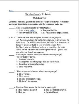 Auggie and Me Three Wonder Stories Assessments