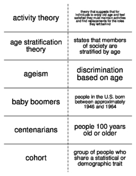 Aging and the Elderly Vocabulary Flash Cards for Sociology