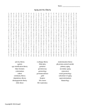 Aging and the Elderly Vocabulary Word Search for Sociology