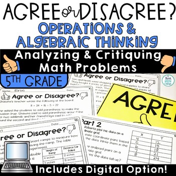Agree Disagree Math Error Analysis Operations and Algebraic Thinking