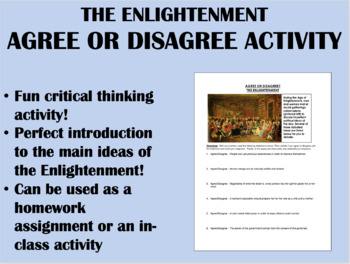 Agree or Disagree activity - The Enlightenment - Global/World History