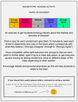 Agree or Disagree? Macbeth Starter Statements FREEBIE