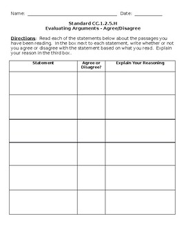 Agree or Disagree Template Graphic Organizer