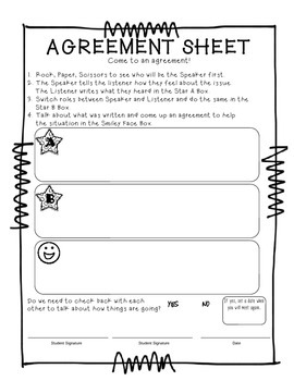 Agreement Sheet - Solving classroom disagreements