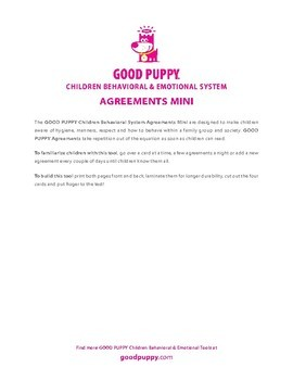 Agreements Mini . Child Behavioral & Emotional Tools by GOOD PUPPY