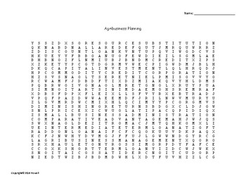 Agribusiness Planning Word Search for Agriculture Science Students