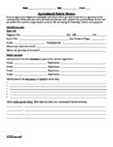 Agricultural Article Review Worksheet