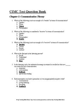 Agricultural Communications CDE: CIMC Test Question Bank - Chapter 1