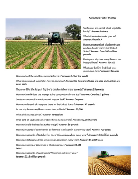 Agricultural Fact of the Day Trivia