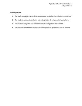 Agricultural Revolution Unit Plan