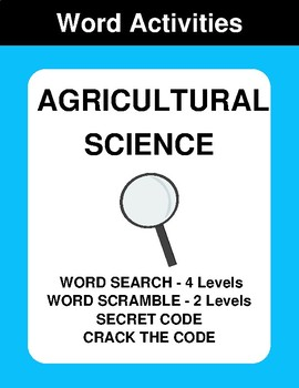 Agricultural Science - Word Search Puzzle, Word Scramble,  Crack the Code