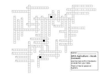 Agriculture Review crossword puzzle for Environmental Science